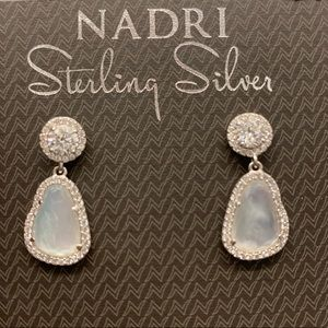 NADRI Sterling Silver Aqua Quartz CZ Drop Earrings